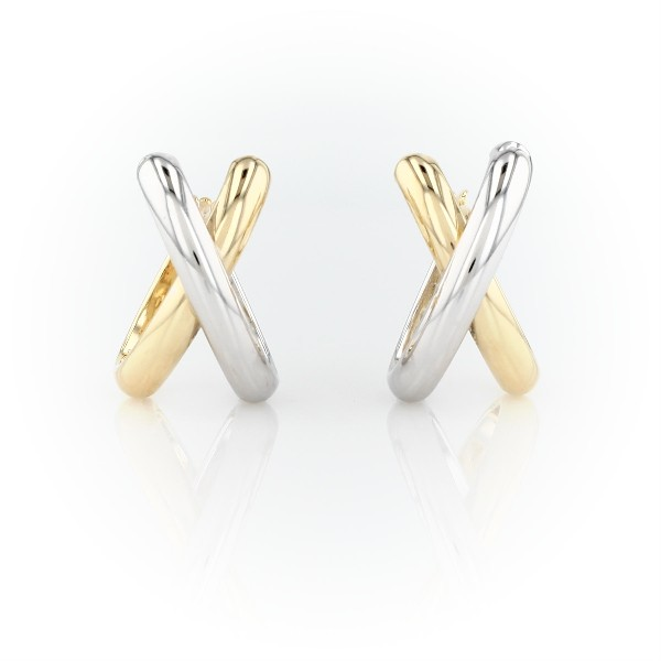 Blue Nile Crossed Huggie Earrings in 14k Yellow and White Gold