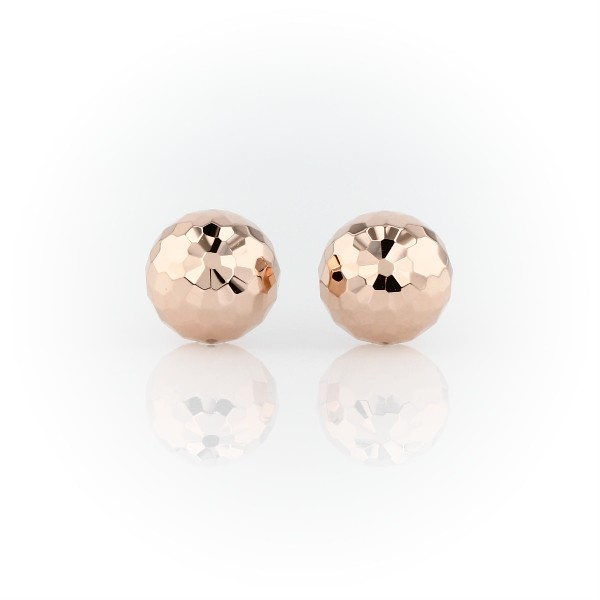 Hammered Stud Earrings in 14k Rose Gold (9.5mm)