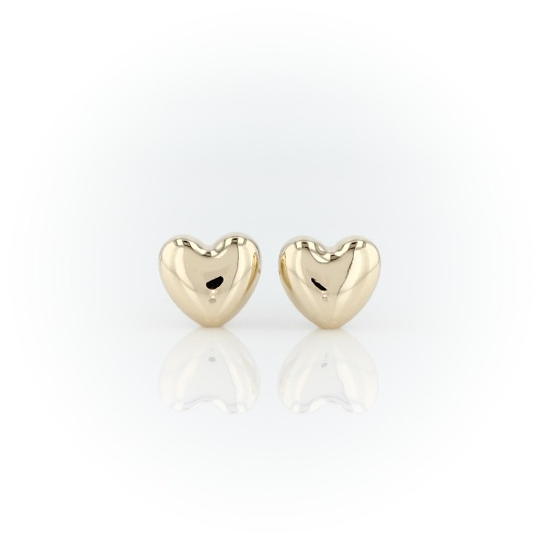 Puff Heart Stud Earrings in 14k Yellow Gold