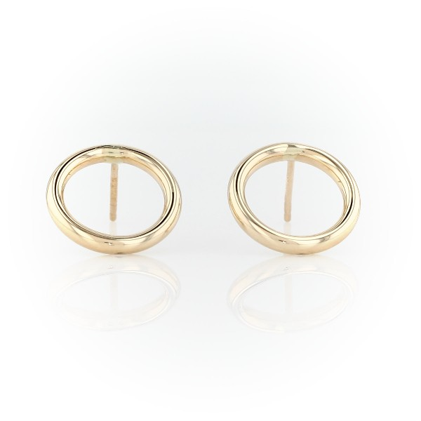 Open Circle Stud Earrings in 14k Yellow Gold