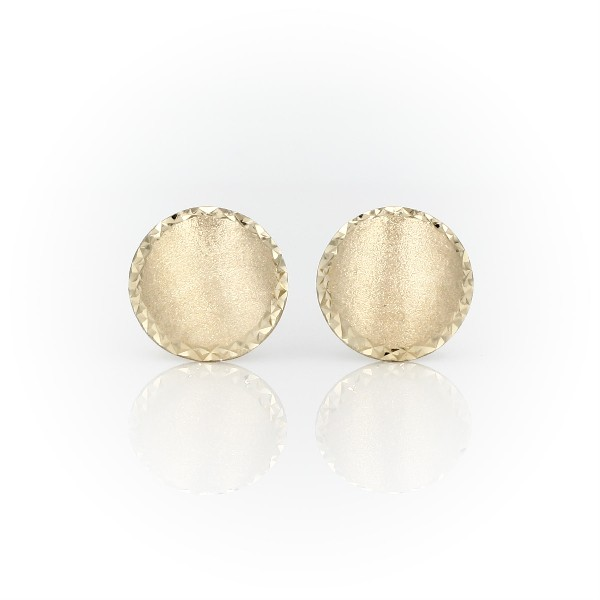 Modern Satin Circle Stud Earrings in 14k Yellow Gold