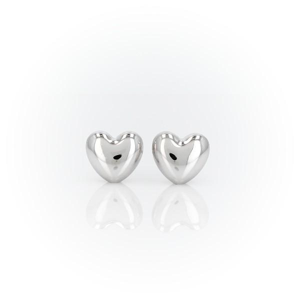 Puces d'oreilles en forme de cœur bombé en or blanc 14carats