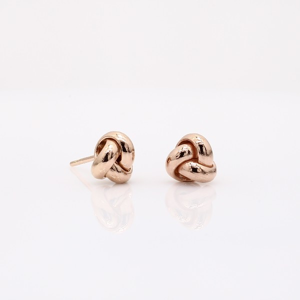 Petite Trio Love Knot Earrings in 14k Rose Gold (7mm)