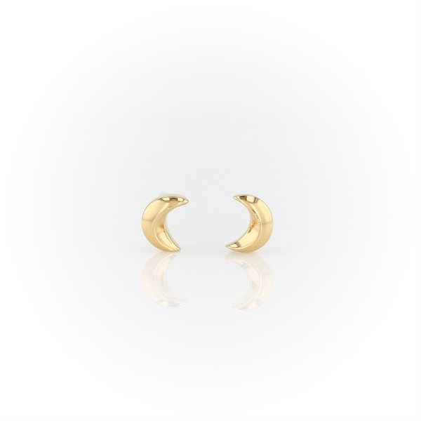 Aretes pequeños con motivo de luna en plata bañada en oro amarillo de 18k