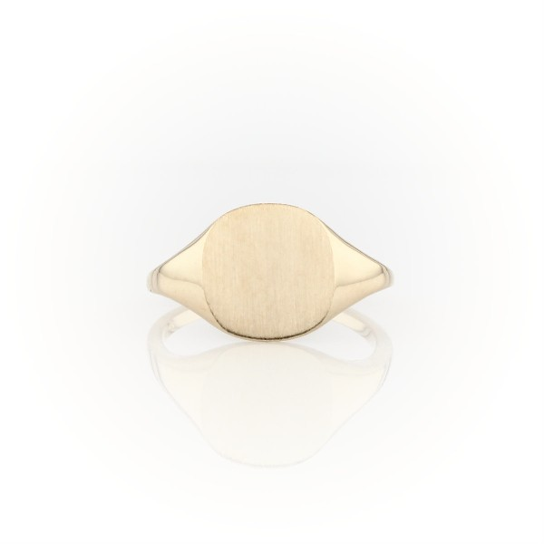 Modern Brushed Signet Fashion Ring in 14k Yellow Gold