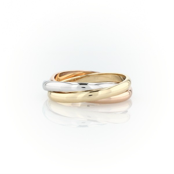 Trio Rolling Ring in 18k Tri-Colour Gold