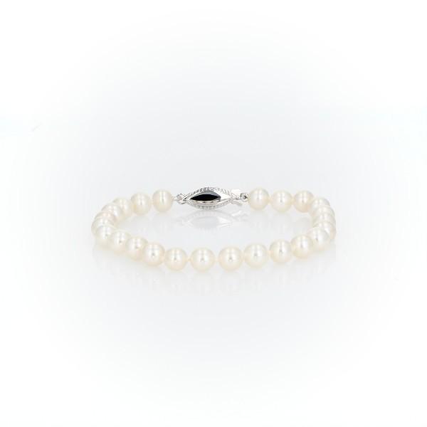 Freshwater Pearl Bracelet in 14k White Gold (3.5-4mm)