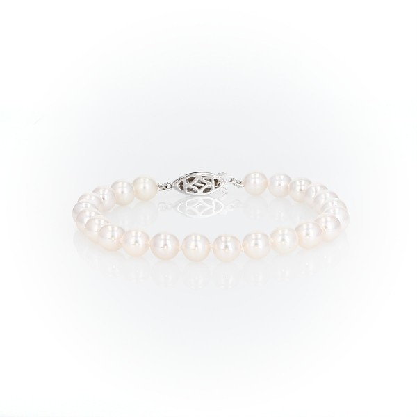 Premier Akoya Cultured Pearl and Diamond Bracelet in 18k White Gold (7.0-7.5mm)