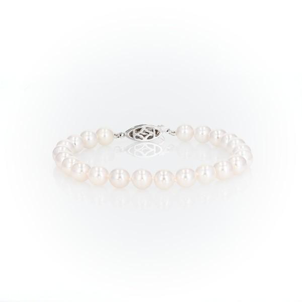 Brazalete de diamantes y perlas de Akoya cultivadas Premier en oro blanco de 18 k (7,0-7,5mm)