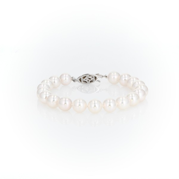 Premier Akoya Cultured Pearl Bracelet with 18k White Gold and Diamond Clasp (8.0-8.5mm)