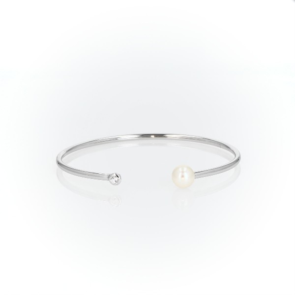 Cultured Freshwater Pearl Bangle Bracelet with White Topaz Detail in Sterling Silver (8-8.5mm)