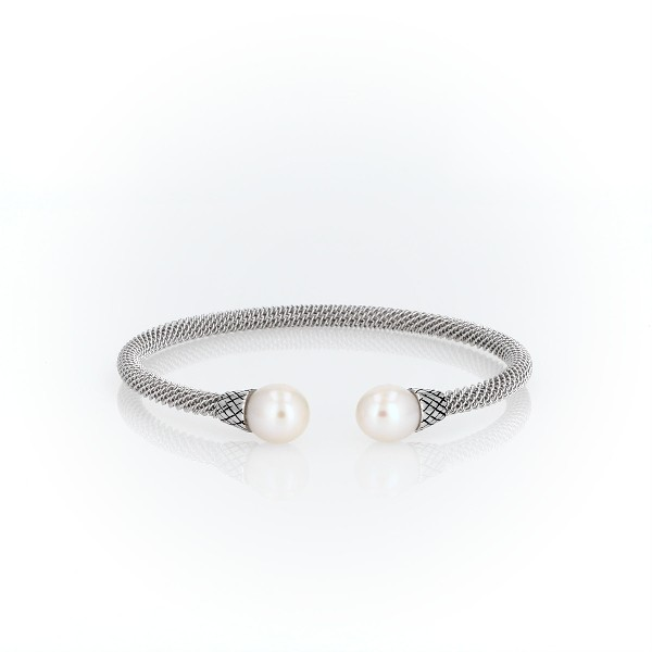 Twisted Cuff Bracelet with Freshwater Pearl Ends in Sterling Silver