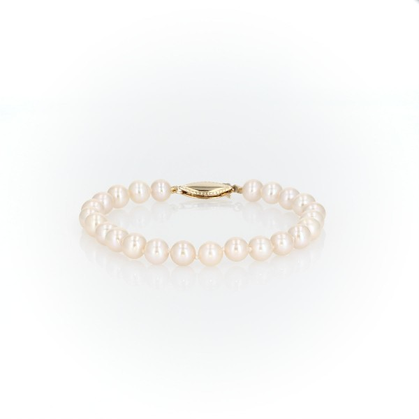 Freshwater Cultured Pearl Bracelet in 14k Yellow Gold (6-6.5mm)