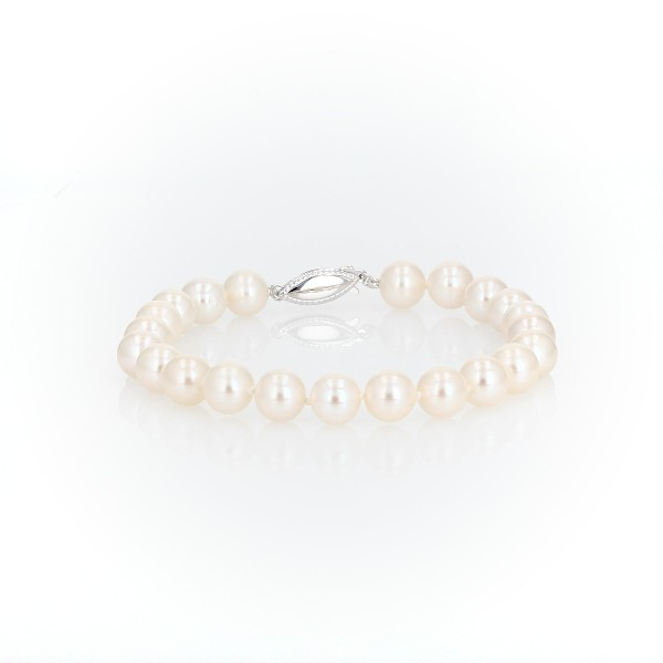 Freshwater Cultured Pearl Bracelet in 14k White Gold (8.0-8.5mm)