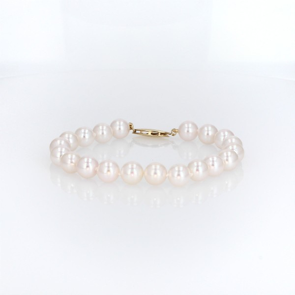 Classic Akoya Cultured Pearl Bracelet in 18k Yellow Gold (7.5-8.0mm)
