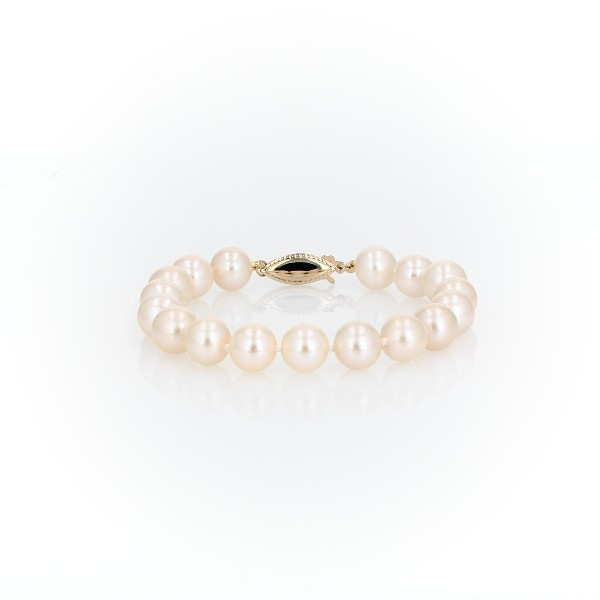 Freshwater Cultured Pearl Bracelet in 14k Yellow Gold (8.0-8.5mm)