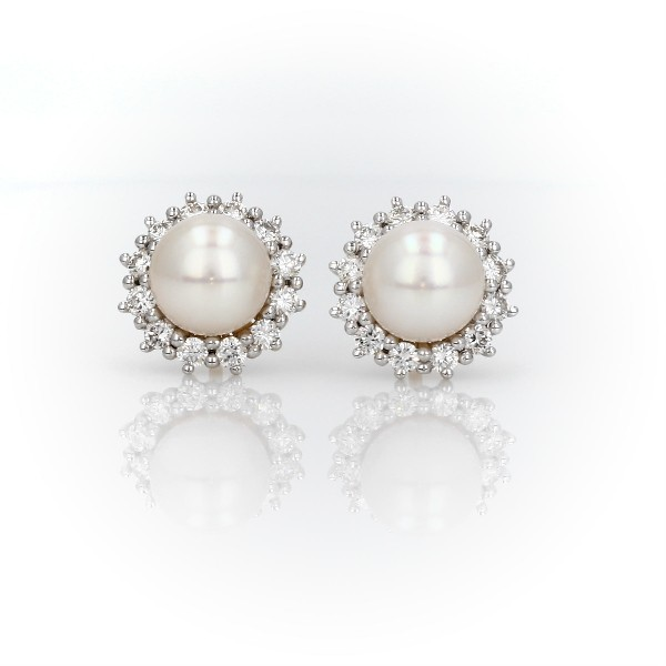 Akoya Cultured Pearl Earrings with Sunburst Diamond Halo in 14k Yellow Gold (7-7.5mm)
