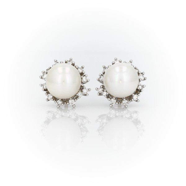 Boucles d'oreilles perle de culture d'eau douce avec halo de diamants dispersés en or blanc 14 carats (7,5-8 mm)