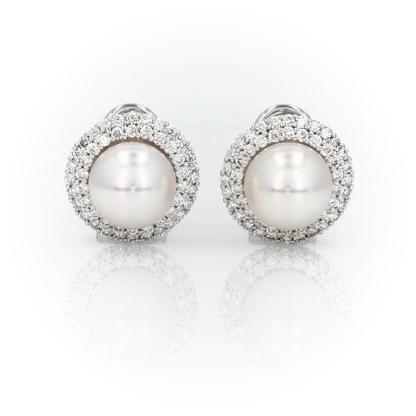 18k 白金經典日本 Akoya 養珠雙光環鑽石耳環(9毫米)