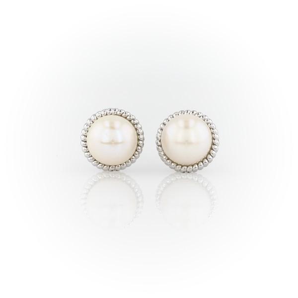 Aretes de perlas rosadas cultivadas de agua dulce en plata de ley (7mm)