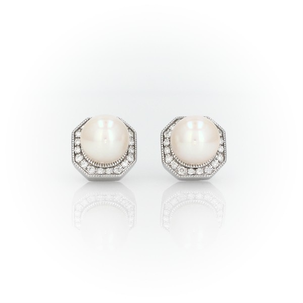 Freshwater Cultured Pearl Stud Earrings with Diamond Hexagon Halo in 14k White Gold (6-7mm)