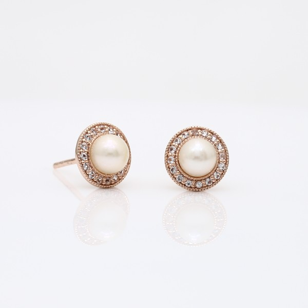 Blue Nile Vintage-Inspired Freshwater Cultured Pearl and White Topaz Halo Earrings in 14k Rose Gold (5mm) KOhQS72gEI