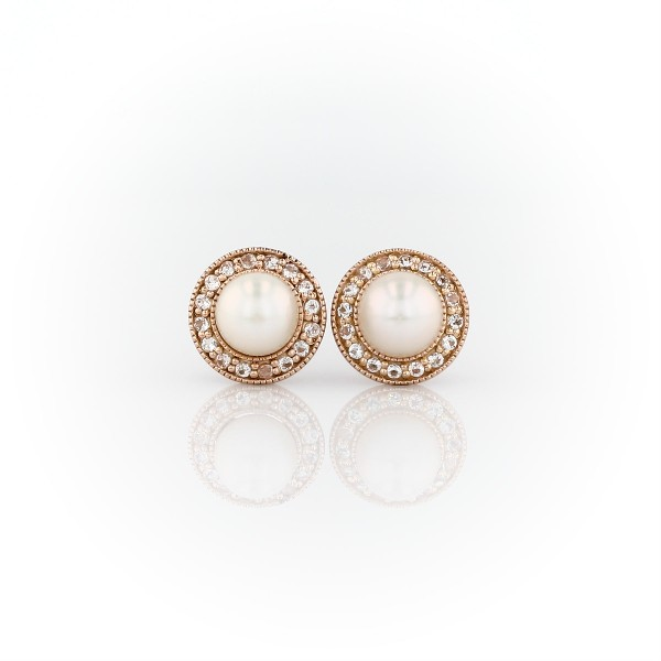 Vintage-Inspired Freshwater Cultured Pearl and White Topaz Halo Earrings in 14k Rose Gold (5mm)