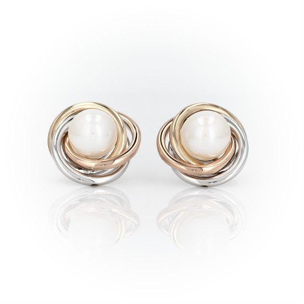 Tri-Color Love Knot Earrings with Freshwater Cultured Pearls in 14k White, Yellow and Rose Gold (6-7mm)