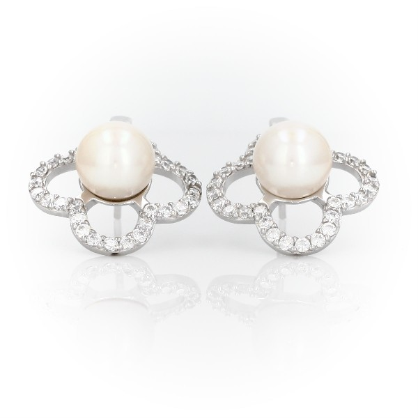 Clover and Cultured Freshwater Pearl Earrings with White Topaz in Sterling Silver (8-9mm)