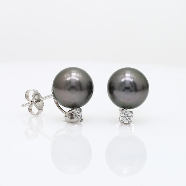 Aretes de diamante y perla cultivada de Tahití en oro blanco de 18 k (9,0-9,5mm)