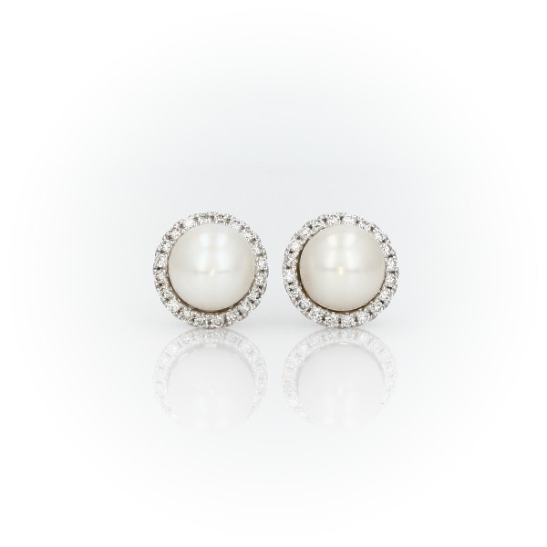 Freshwater Pearl Studs with Diamond Halos in 14k White Gold (0.2 ct. tw.)