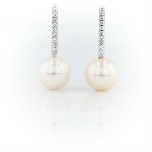 Freshwater Cultured Pearl Earrings with Diamond Drop in 14k White Gold (9-9.5mm)