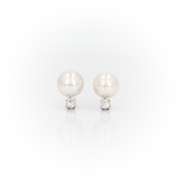 Premier Akoya Cultured Pearl and Diamond Stud Earrings in 18k White Gold (6-6.5mm)