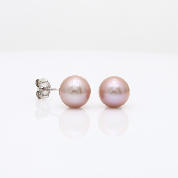 Pink Freshwater Cultured Pearl Stud Earrings in 14k White Gold (7mm)