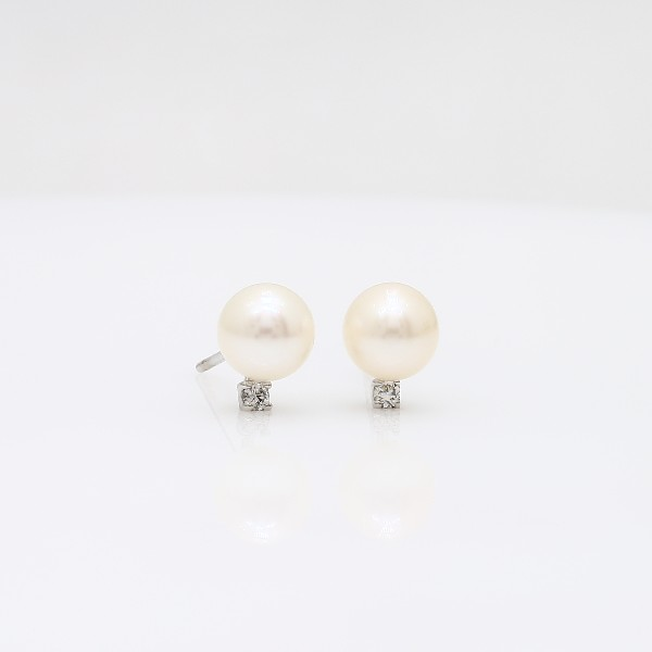Freshwater Cultured Pearl and Diamond Stud Earrings in 14k White Gold (6-6.5mm)