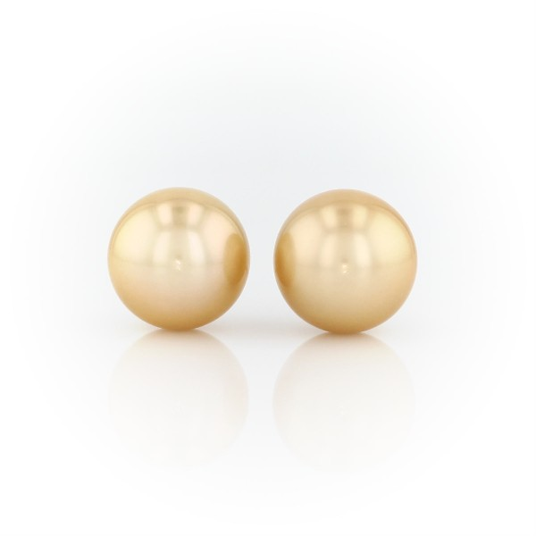 Golden South Sea Cultured Pearl Stud Earrings in 18k Yellow Gold (11-12mm)
