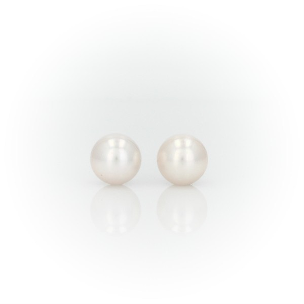 Classic Akoya Cultured Pearl Stud Earrings in 18k White Gold (7.0-7.5mm)