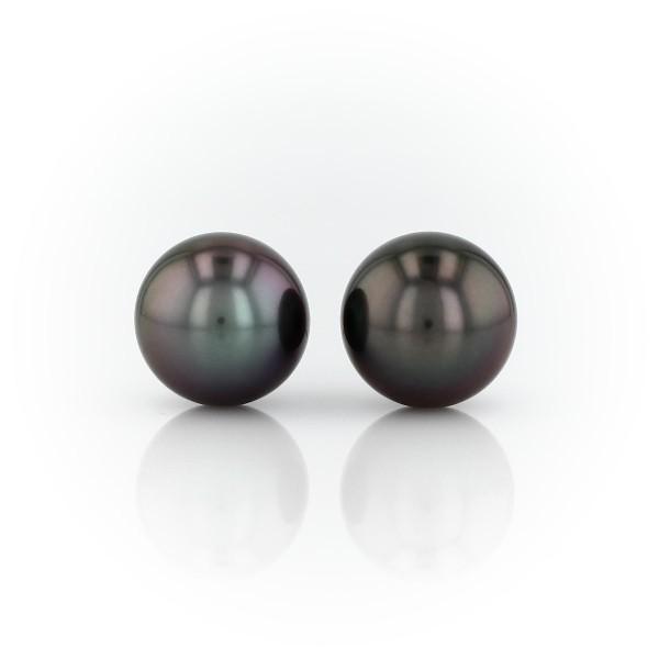 Aretes de perlas cultivadas de Tahití en oro blanco de 18 k (11-12mm)