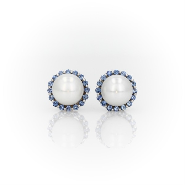 Sapphire and Freshwater Cultured Pearl Halo Stud Earrings in 14k White Gold