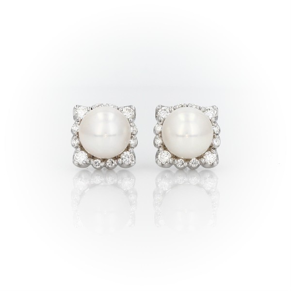 Vintage-Inspired Freshwater Cultured Pearl Diamond Halo Earrings in 14k White Gold (7-7.5mm)