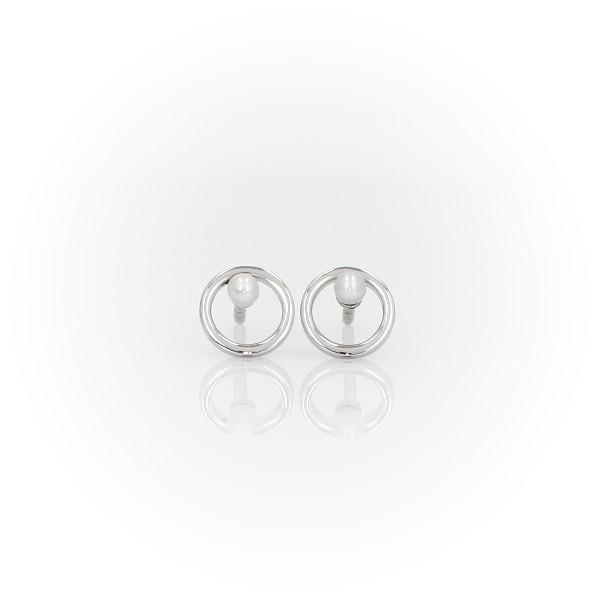 Aretes pequeños con círculo abierto y piedra de nacimiento de perla cultivada de agua dulce  en oro blanco de 14 k (2mm)