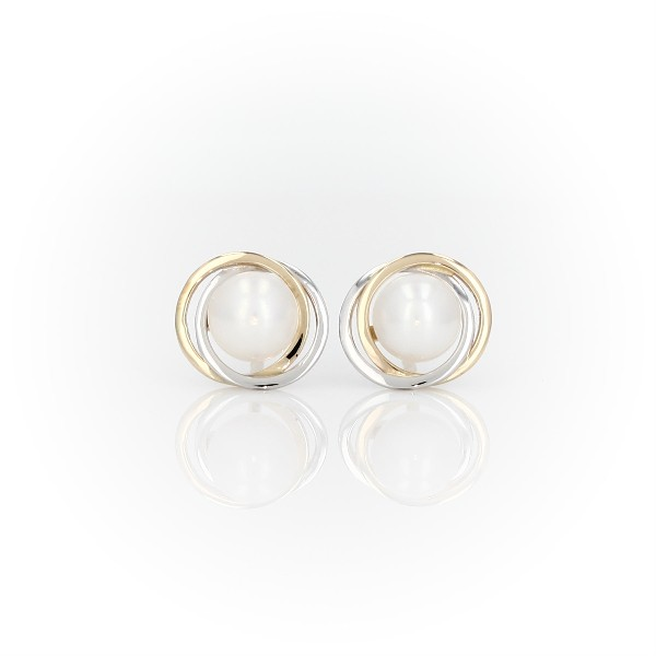 Freshwater Cultured Pearl Two-Tone Halo Stud Earrings in 14k White and Yellow Gold