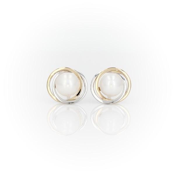 14k 白金和黃金淡水人工養殖珍珠雙色光環釘款耳環