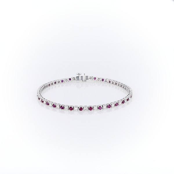 Riviera Ruby and Diamond Bracelet in 14k White Gold (2.2mm)