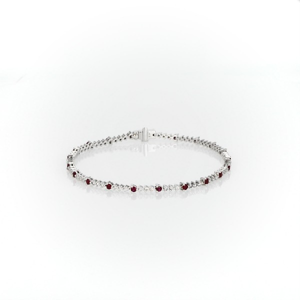 Ruby and Diamond Alternating Bracelet in 14k White Gold (2mm)