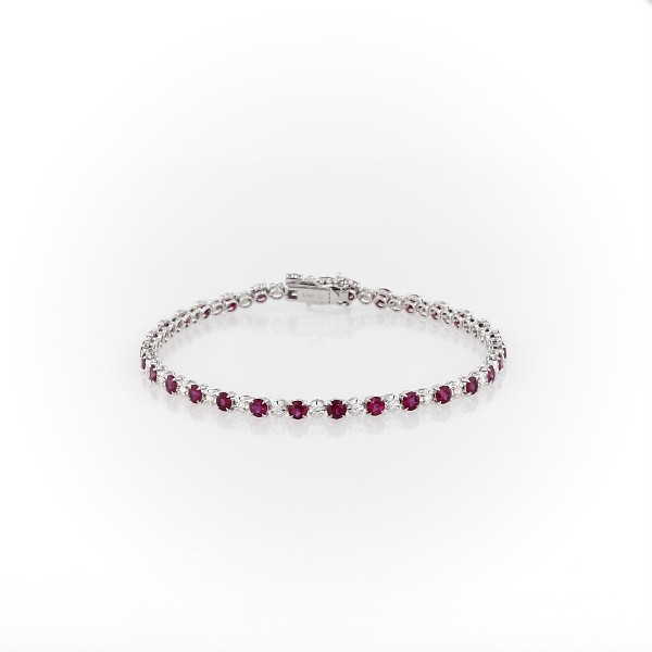 Alternating Size Ruby and Diamond Bracelet in 14k White Gold (3mm)