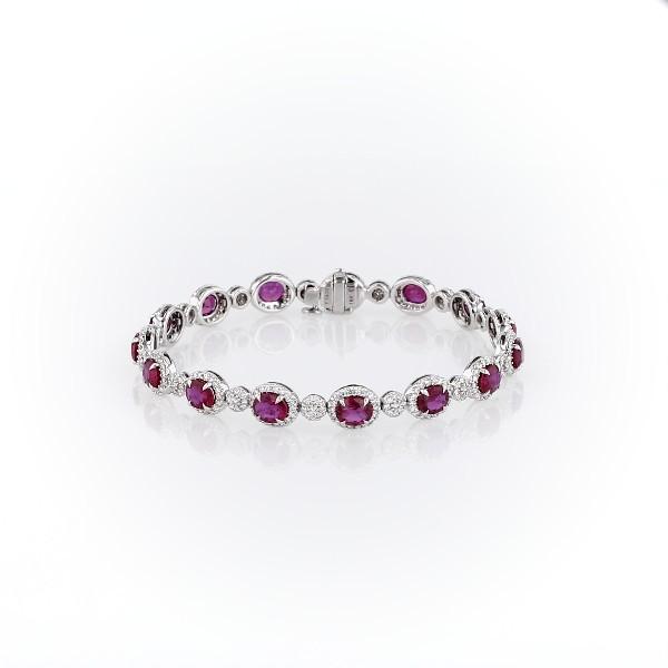 Oval Ruby Eternity Bracelet with Diamond Halos in 18k White Gold