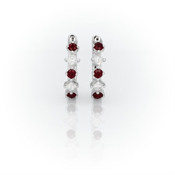 Ruby and Diamond Huggie Hoop Earrings in 14k White Gold (2.2mm)