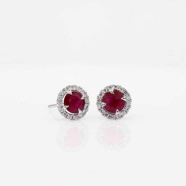 Boucles d'oreilles en diamants sertis micro-pavé et rubis en or blanc 18carats (5mm)