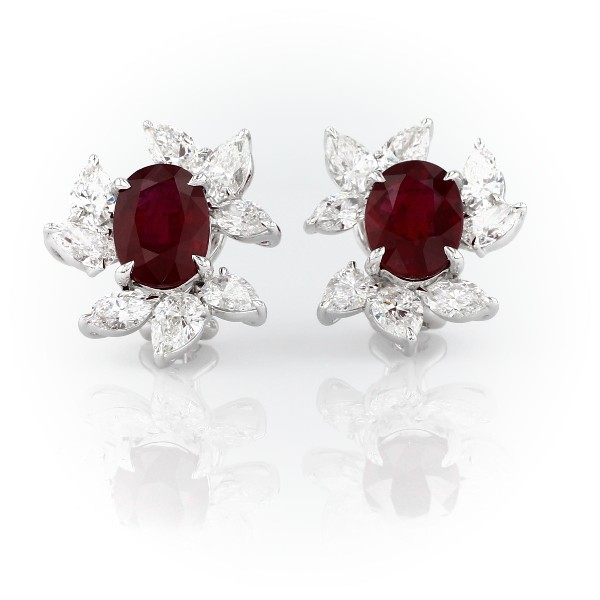 Oval Ruby Earrings with Diamond Leaf Halo in 18k White Gold (5.15 ct. center)